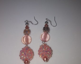 Peach Disco Ball Earrings - Free Shipping
