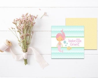 Mermaid Gift Tags | Kids Calling Cards | Kids Gift Tags | Mommy Calling Cards | Playdate Cards | Mommy Cards | Personalized Gift Tags