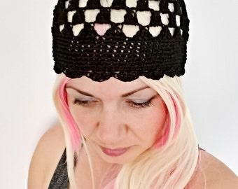 Silk black summer beanie hat women lace beanies summer retro hat skullcap, fashionable beanies for women