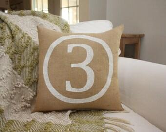 Burlap Pillow / Number Pillow / Family Number / Siblings Number