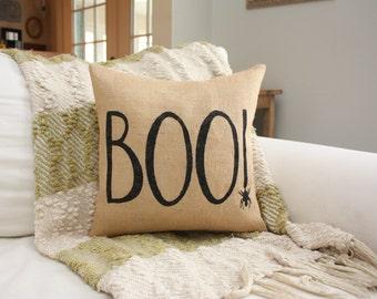 Burlap Pillow / Boo! / Halloween Decor / Halloween pillows