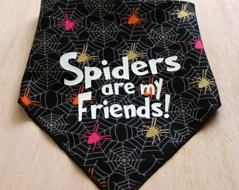 Halloween Dog Bandana – Spiders are my Friends! – Glow-in-the-Dark Pet Halloween Outfit