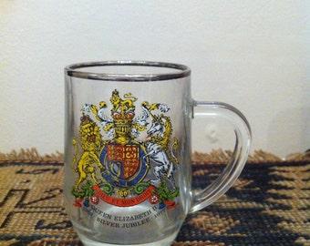 Vintage Silver Jubilee Tankard glass, Queen Elizabeth II, glass mug, 1952 - 1977,