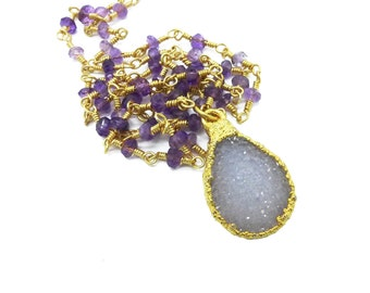 Druzy Rosary Necklace, Druzy Necklace, Amethyst Necklace, Long Beaded Necklace