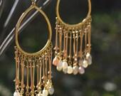 Freshwater Pearl Gold Tone Hoop Earrings Brass Tribal Hoops Cultured Pearls Long Dangle Chandelier Bohemian Gypsy Jewelry Modern Ear Ring