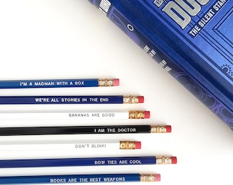 Doctor Who Pencil Set — 7 Imprinted Pencils — Bow Ties Are Cool, Madman with a box, I am the Doctor, Books are the Best Weapon