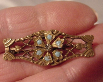 Very Old Bar Pin Filigree Design Blue Stones