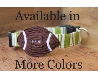Football Dog Collar - Choose Your Fabric - Collar with Brown Football