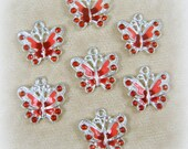 Butterfly Charms - Red Enamel and Rhinestone Butterfly Charm - Silver and Red Butterfly Charms - Qty. 4