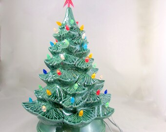 Large Vintage Style Glazed Ceramic Christmas Tree -16 inches with base, hand made, painted, pine tree