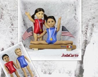 "Team USA -- Balance Beam, USA Leotards and Medals -- 18"" AG Dolls"