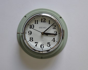 """8.5"""" diameter Vintage Japanese Ship Clock from Seiko. Mint green. Kitchen Clock.  Wall Clock.  Industrial. Made in Japan. 1192"""