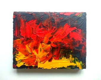 Small Abstract Painting Oil Abstract Artwork Oil on Canvas Small Art Canvas Painting Small Wall Art Small Painting Oil Impasto Painting Red