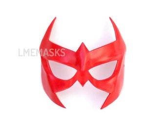 Hank Hall Leather Mask Red Robin Nightwing Arkham Knight Half Mask Red Hood Cosplay Hero Tim Drake Halloween Jason Todd Batman Teen Titans
