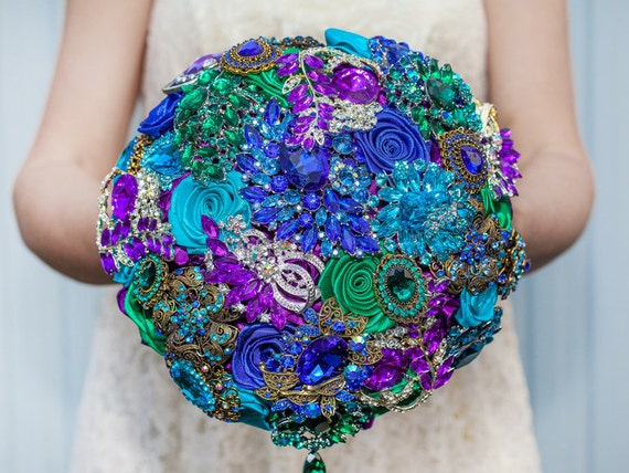 Blue and Turquoise wedding brooch bouquet