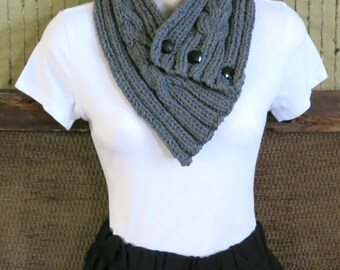 Knitted Cowl Scarf, Womens Chunky Cable Neckwarmer, Grey Winter Wool Neck Shawl, Nchanted Gifts, Australia