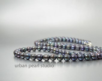 Long Black Pearl Necklace Strand of Pearls Mother of the Bride Anniversary Gift Birthday Present