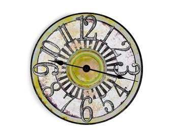 Retro white wall clock with green and yellow speckled middle. Circle design.