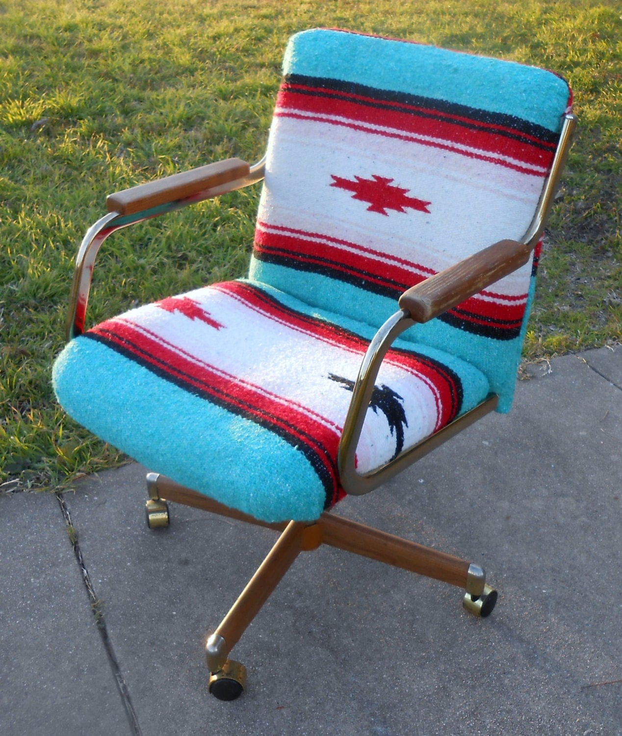 1980s Office Chair Rolling Swivel Furniture Mexican Serape