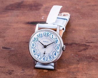Pobeda mens watch,russian mens watch,wind up mens watch,blue mens watch,mens leather watch,watches for men,vintage mens watch,mens watches