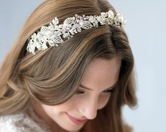 Bridal Hair Accessories,Floral Bridal Headband,Bride To Be,Hair Accessories, Elegant Bridal Headband, Eye Catching Bridal Headpiece ~TI-3272