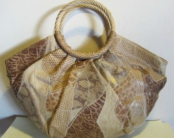 Vintage Italian leather patchwork bag w rotan handles, cute bag! Braccialini!! Italy