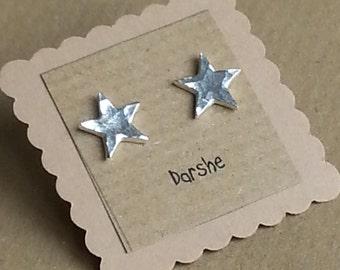 Fine Silver Star Stud earrings, star earrings, studs, tiny studs, star, earrings