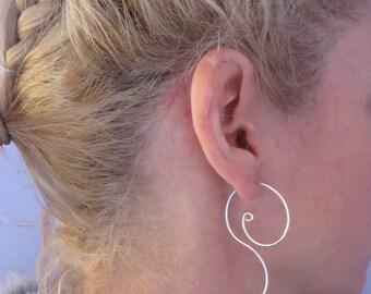 Large Sterling Silver Coil, Hoop Earrings,  Spiral, Silver Wire Earrings, Women