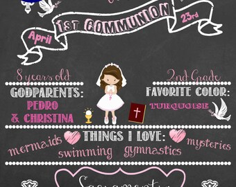 Girl Version  Communion/ Baptism Chalkboard **PRINTABLE** ANY SIZE!