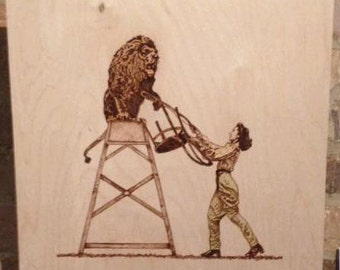 Lion Tamer Pyrography and Coloured Pencil on on Birch Wood Panel