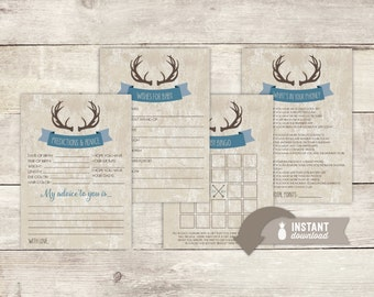 Rustic Deer Antlers Baby Shower Game Pack - 4 Instant Download Games
