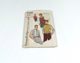 50s Mens Shirt and Vest Pattern - Simplicity 4160 - Vintage Mens Pattern - Size 38 Neck 15