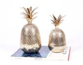 Stunning Pair of Large Polished Brass Pineapples