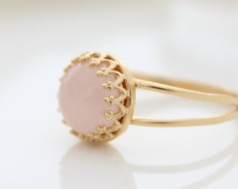 Rose quartz ring • Delicate gold ring set with pink gemstone • Anniversary gift