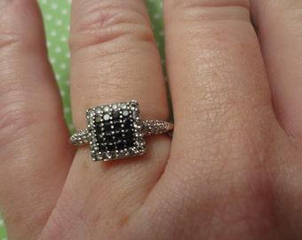 10k Chocolate & White Diamond Halo Square Ring size 7 Engagement Promise White Gold Gift Birthday Anniversary Wedding Bride Groom Gift Cake