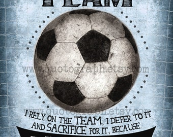 Soccer Mia Hamm Quote - photo print -  Member of a Team - Poster Wall Art Textured Distressed Blue Sports Girls Room Inspirational Decor