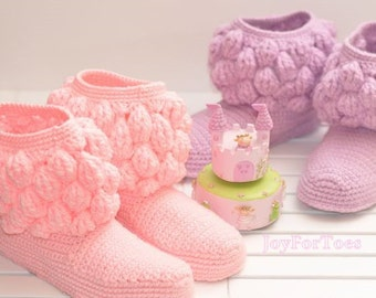 Crochet Boots Crocheted Handmade Slippers for the Home Cozy Uggs House Shoes girlfriend gift One-colored Bubbles Pink Gifts for her