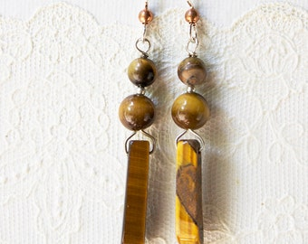Tiger Eye Bar and Bead Earrings with Copper Ball and Sterling Silver French Ear Wires