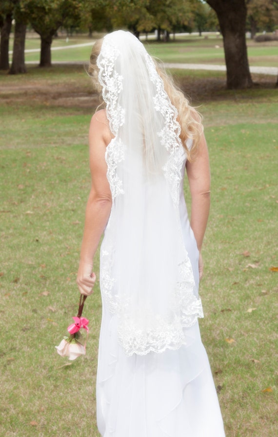 Sequined Lace Wedding Veil