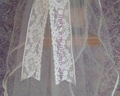 One of a Kind (37) Communion Veil on Comb with Lace Bow, White