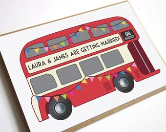Vintage Bus Wedding Invitation - London Bus, Wedding Bus, Red Bus Invitation, British United Kingdom, UK Destination wedding, England SAMPLE