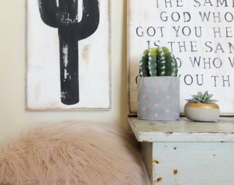 Black cactus rustic wood sign