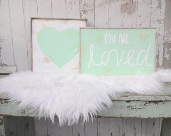 You are loved mint rustic wood sign