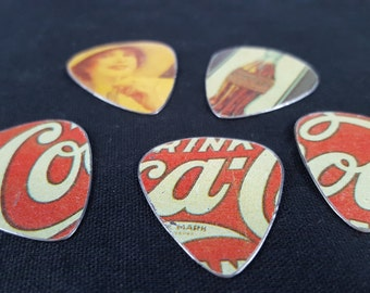 Set of Five Guitar Picks Made from Coca Cola Tin