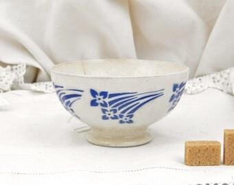 Antique French Farmhouse Ceramic Café au Lait Coffee Bowl / French Country Decor /Rustic Vintage /Blue Home Interior  / Digoin / Coffee Bowl