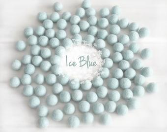 Wool Felt Balls - Size, Approx. 2CM - (18 - 20mm) -25 Felt Balls Pack- Color Ice Blue-2010 - Wool Felt Pom Pom - Ice Blue Felt Balls - Beads
