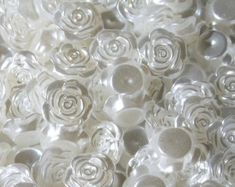 20 Tiny Roses, WHITE or IVORY Pearlescent Flatback Cabochons