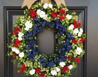 Boxwood Wreath. Patriotic Summer Wreath. 4th of July, Spring Wreath. Front Door Wreath. Memorial Day. Red White and Blue. Housewarming Gift