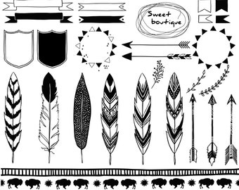 Tribal clip art images, tribal clipart, Floral Clipart, Arrow Clipart, Tribal Arrow Clipart, tribal clip art, Feathers clipart, Indian 0884