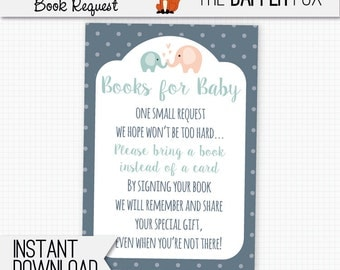 Book Request Elephant Bring A Book Baby Shower insert card - printable - Books for Baby insert Baby Boy Gender Neutral Navy Peach Teal
